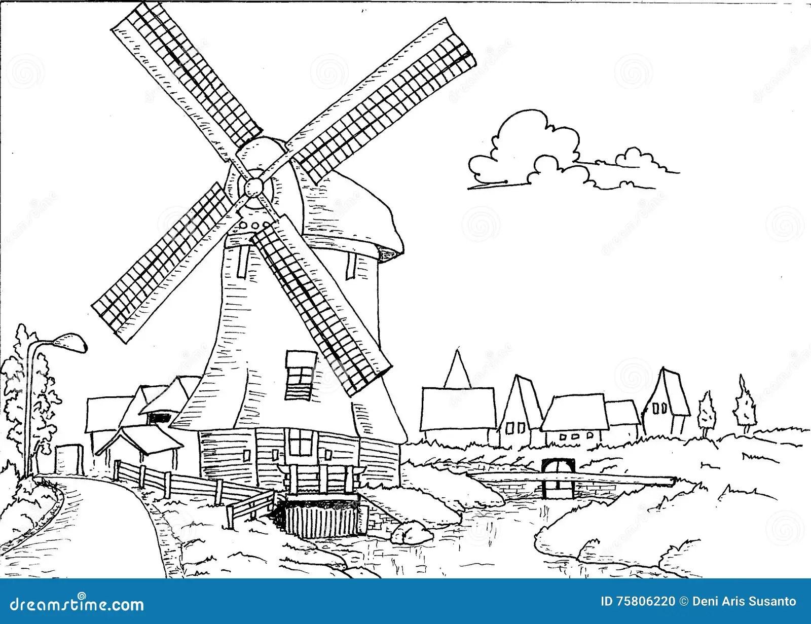 Paisaje Holandes Dibujado Mano Con El Molino Ilustracion