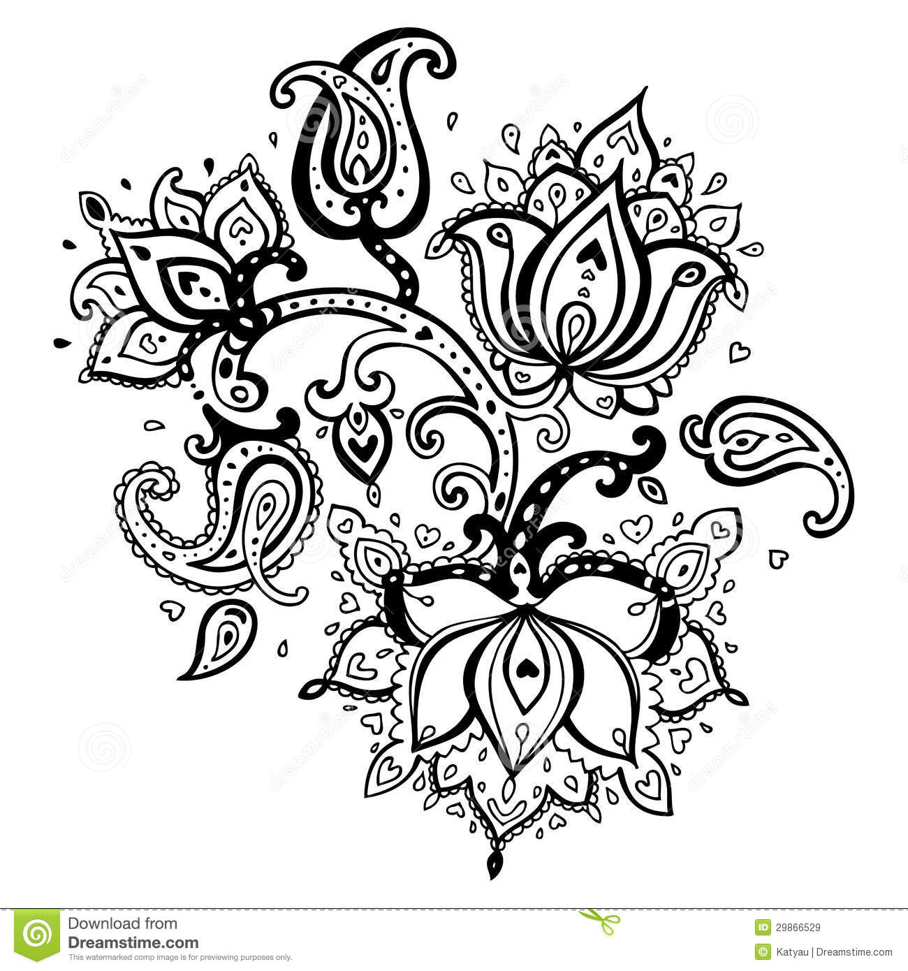 Hand Drawn Paisley Ornament Royalty Free Stock Images
