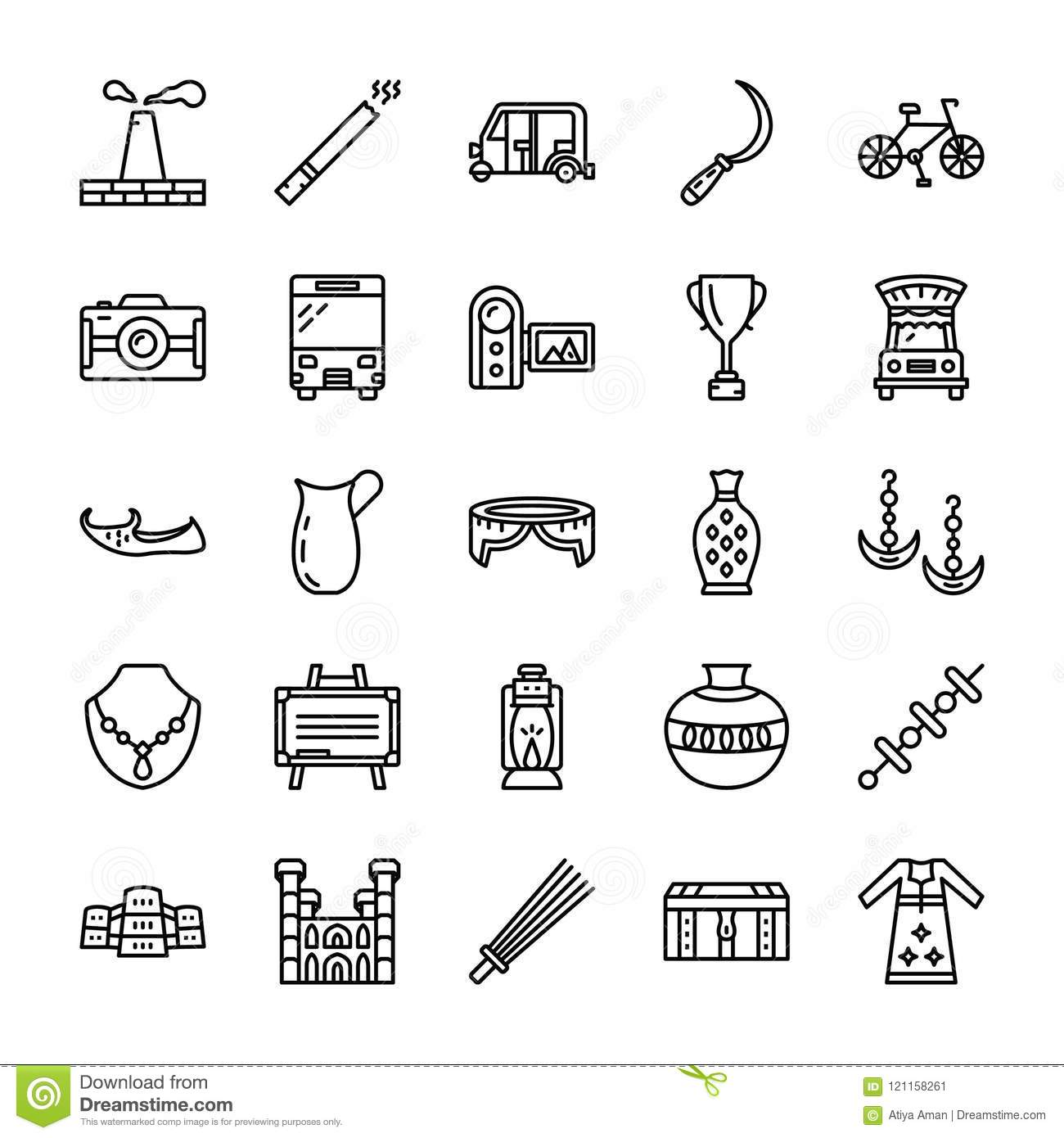 Pakistan Culture Traditions Pack Stock Illustration