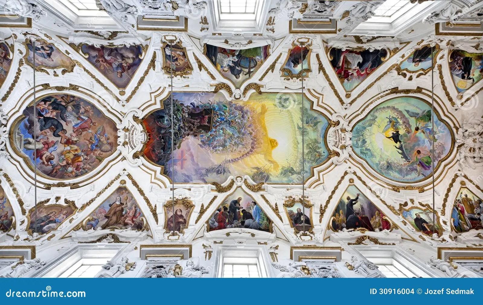 Palermo  Affresco Moderno Di Ultimo Giudizio Sul Soffitto Del Chiesa Del Gesu Della La Della