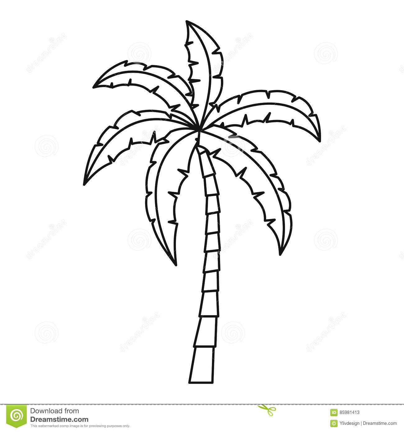 Palm Icon Outline Style Stock Vector Illustration Of