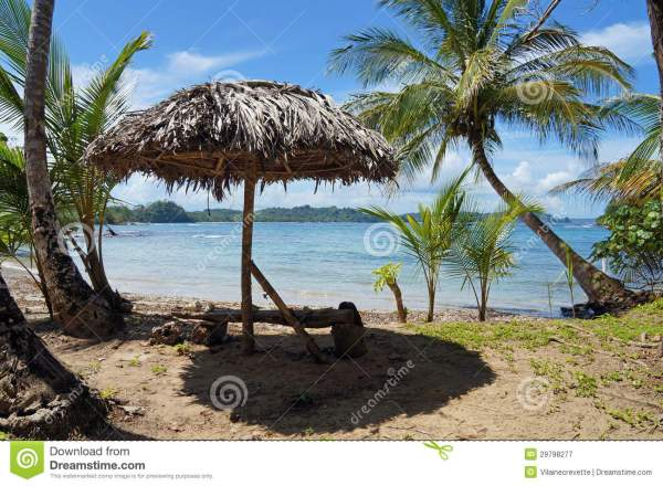 Tropical Beach With Thatched Umbrella Royalty Free Stock