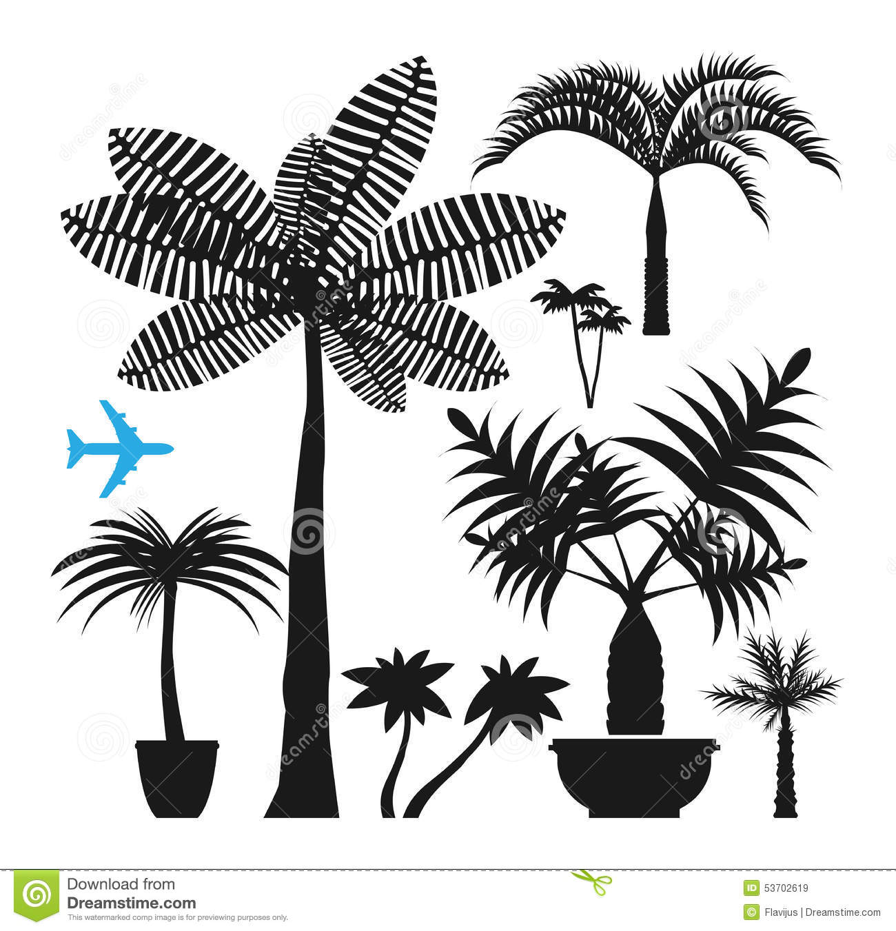 Palm silhouettes stock vector. Illustration of botany