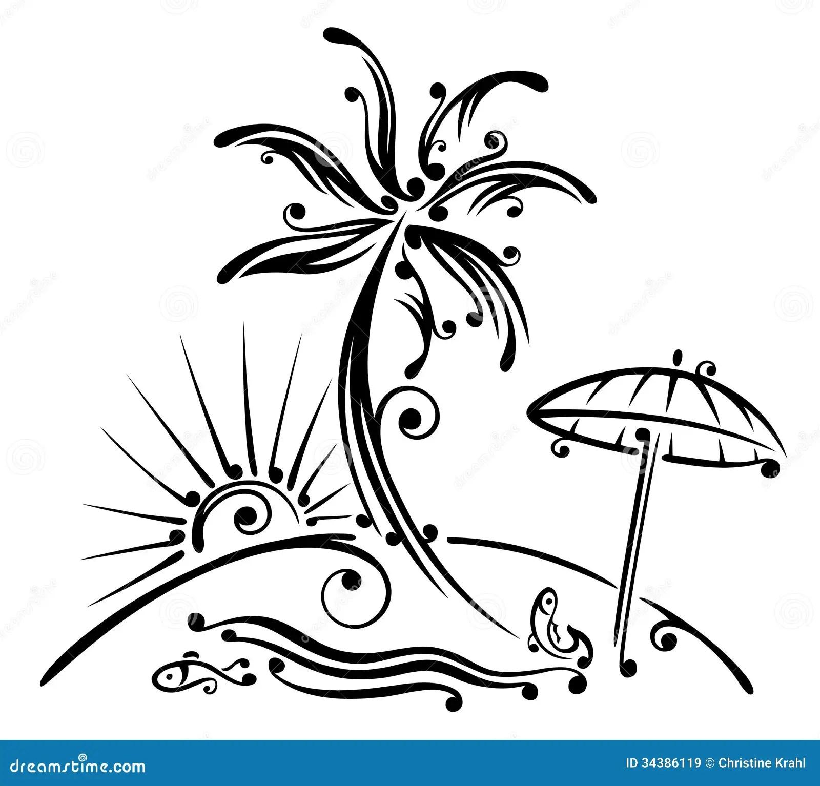Palm Tree Beach Sea Stock Vector Illustration Of