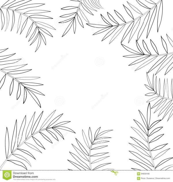 Palm tree leaves border 1 stock vector Illustration of