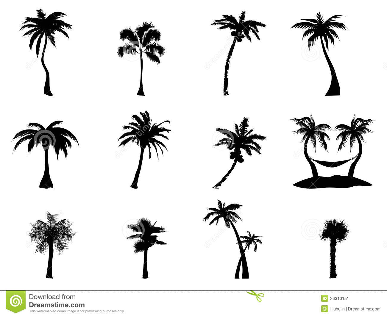 Palm Tree Silhouette Stock Vector Illustration Of
