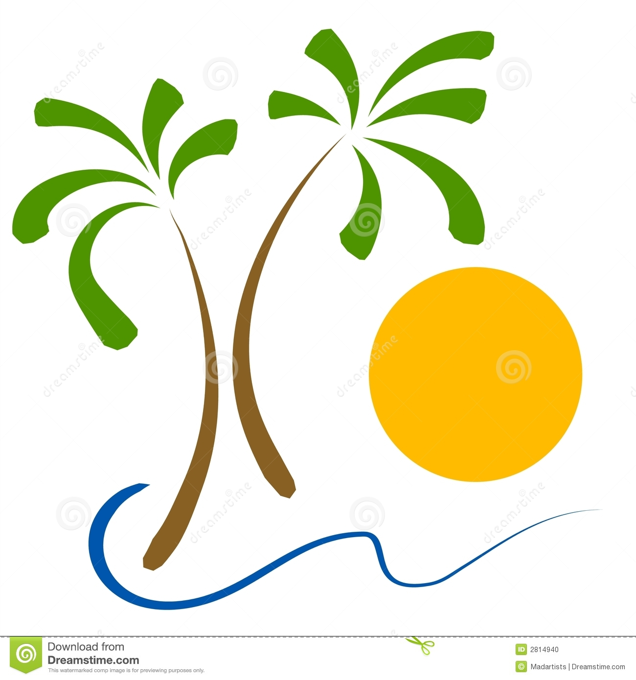 hight resolution of a simple clip art illustration of 2 palm trees ocean waves and a sun sorry extra formats not available for this image