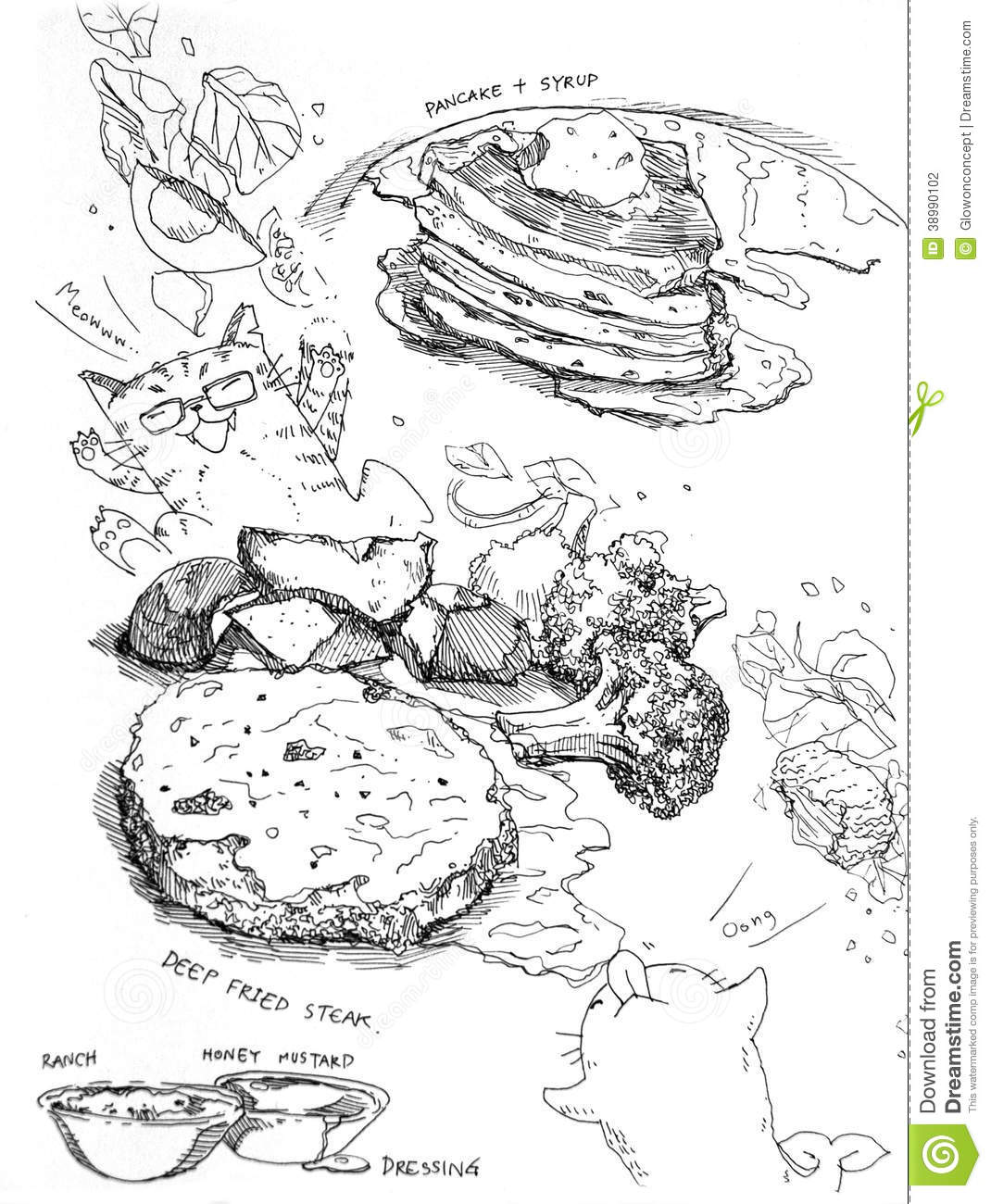 Pancake And Syrup And Steak With Vegetable Drawing Stock