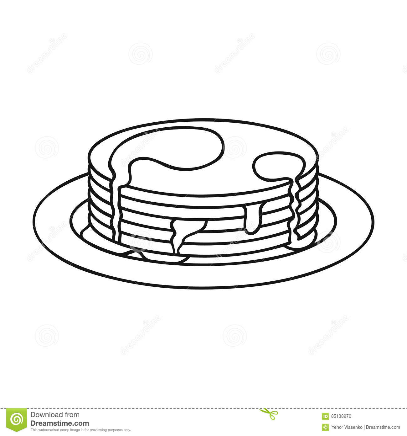 Pancakes With Honey Icon In Outline Style Isolated On
