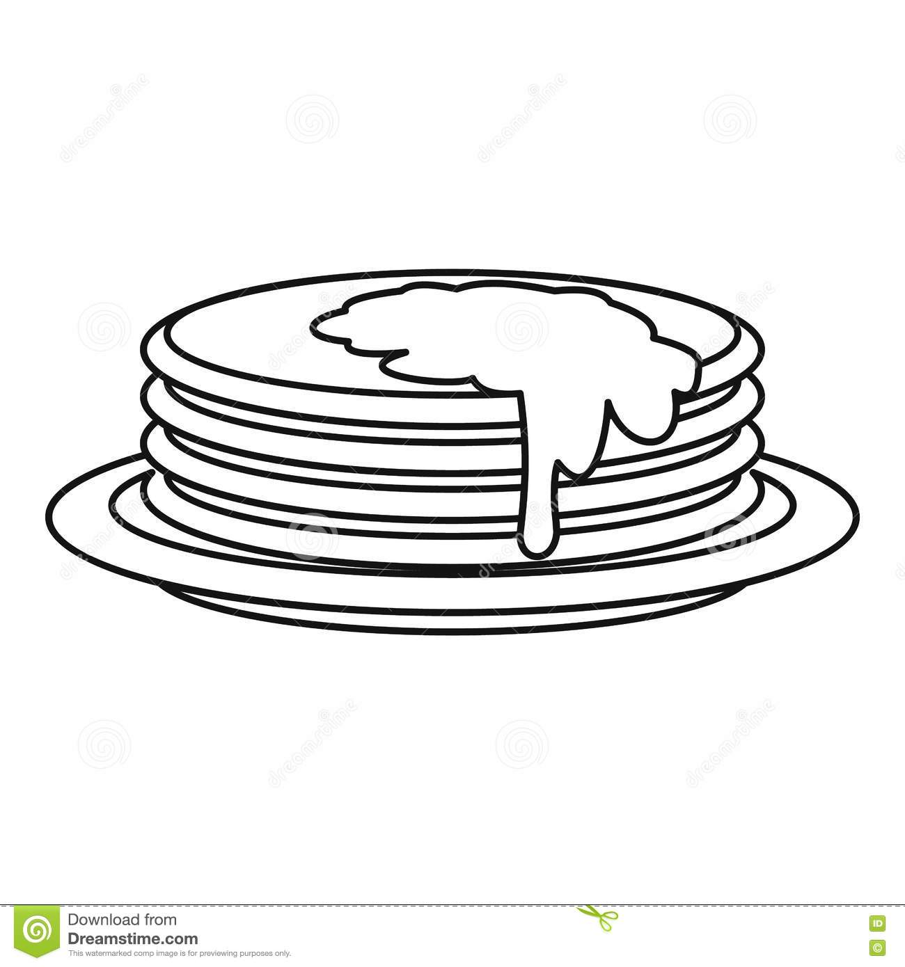 Pancakes Icon Outline Style Stock Vector