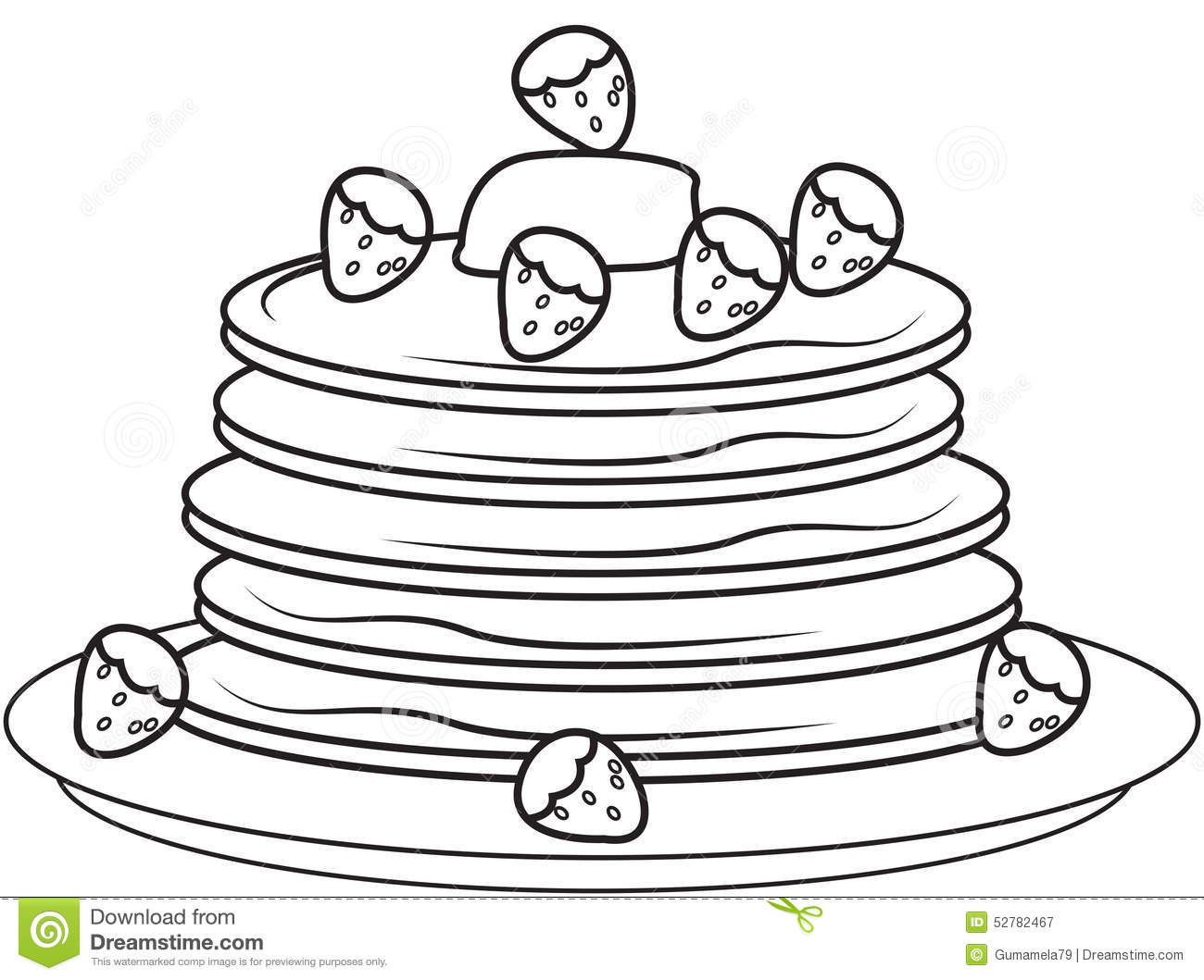 Pancakes With Strawberries Coloring Page Stock