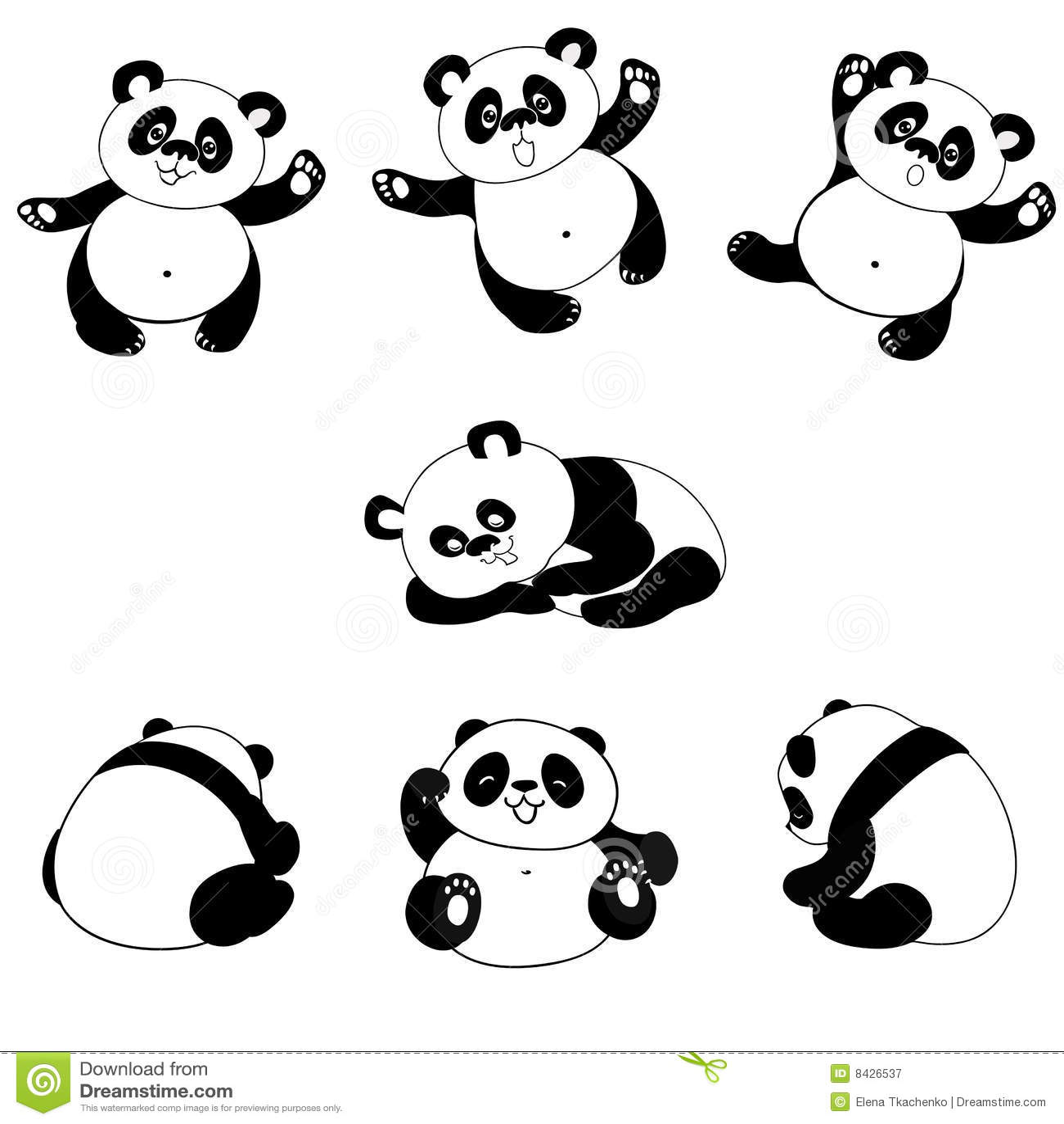 Panda Bear Poses Stock Vector Illustration Of Black
