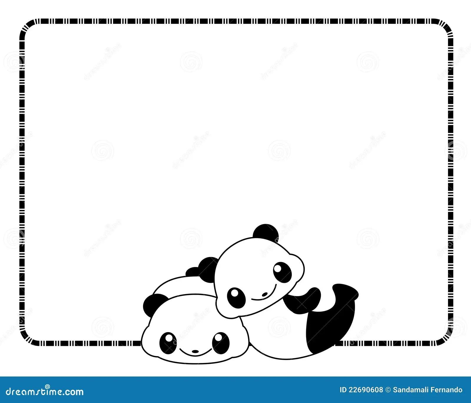 Panda Frame Border Cartoon Vector