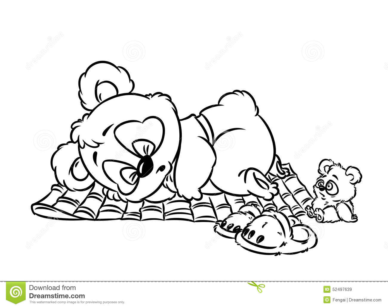 Panda Little Sleeping Coloring Page Stock Illustration