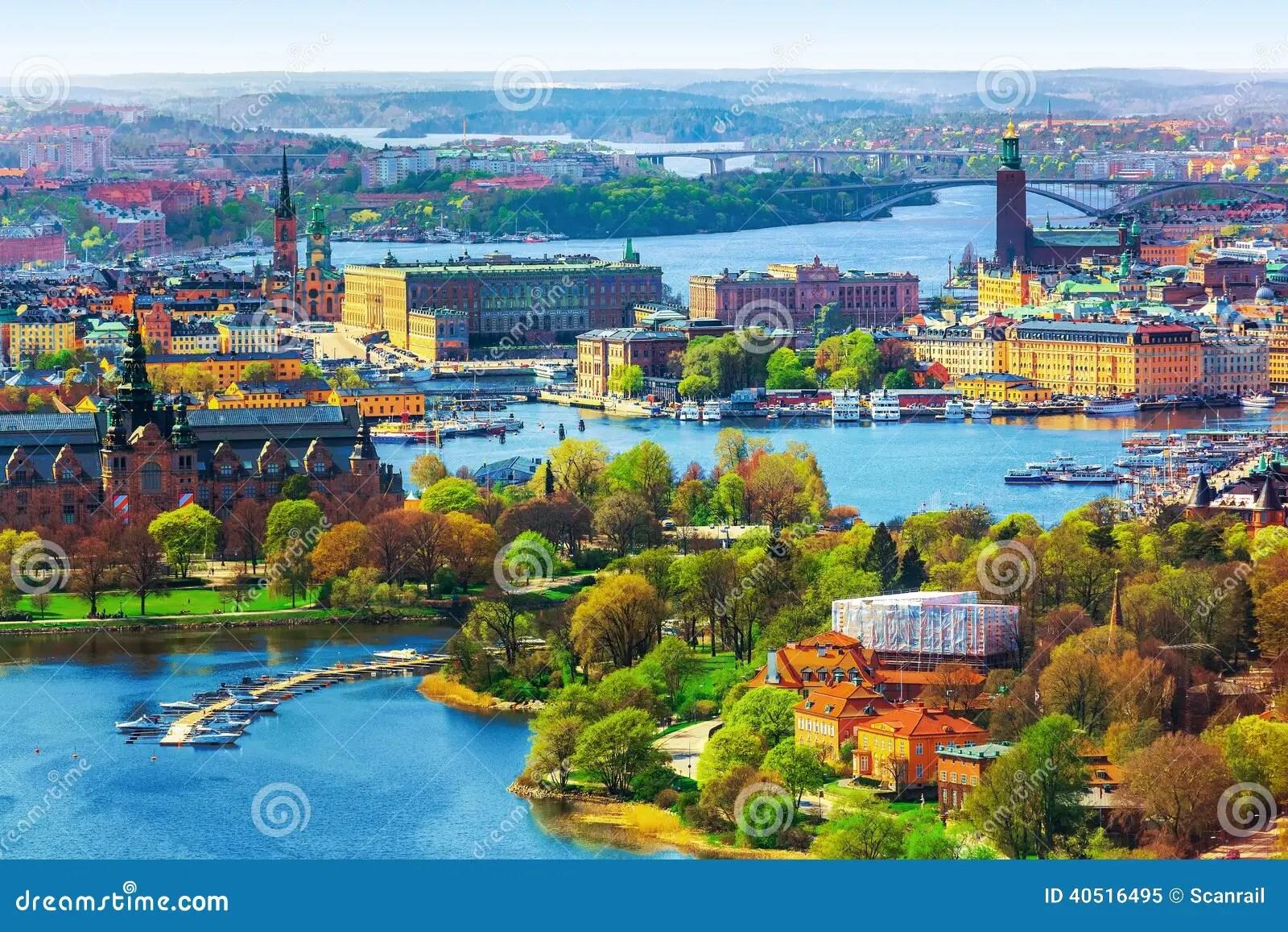 Panorama Aereo Di Stoccolma Svezia Immagine Stock  Immagine di corridoio vecchio 40516495