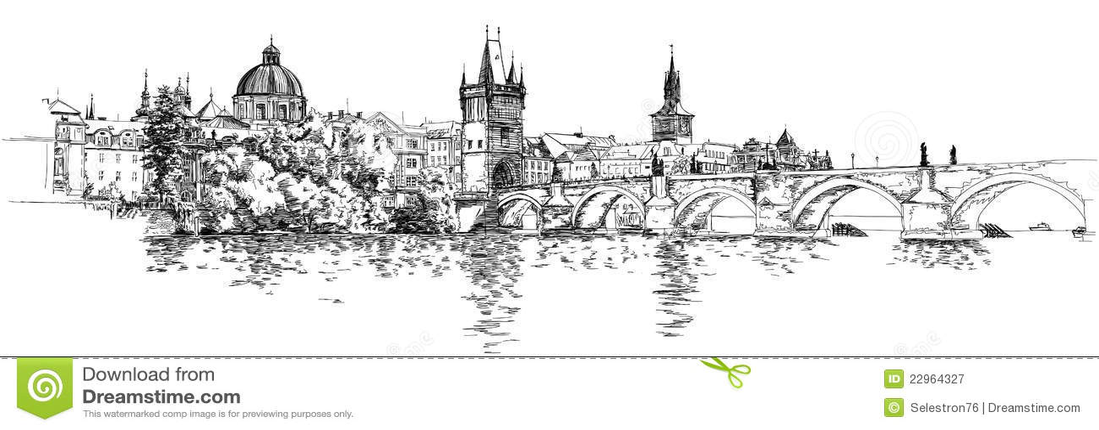 Panorama Of Prague. View Of Charles Bridge Stock Vector