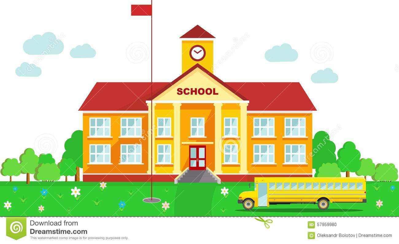 Panoramic Background With School Building And Stock Vector