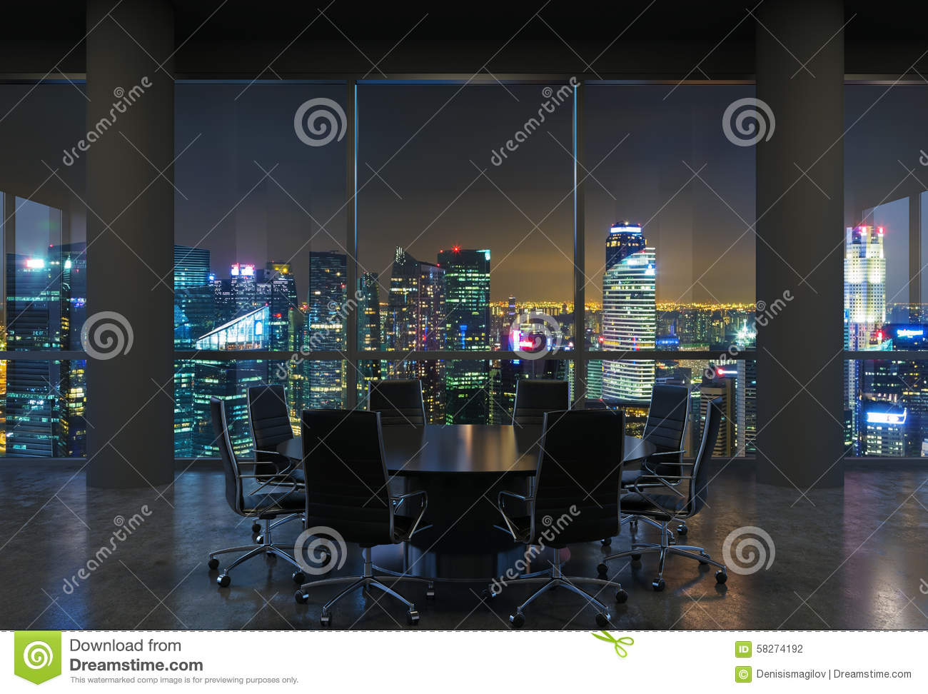 Panoramic Conference Room In Modern Office Cityscape Of