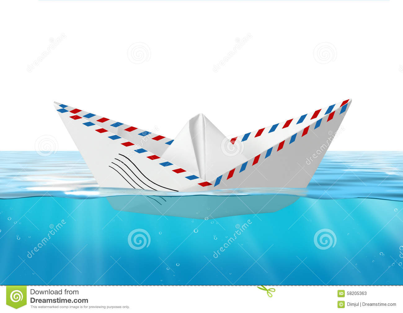 Paper Boat Made From Mail Envelope Floating At Sea, Post