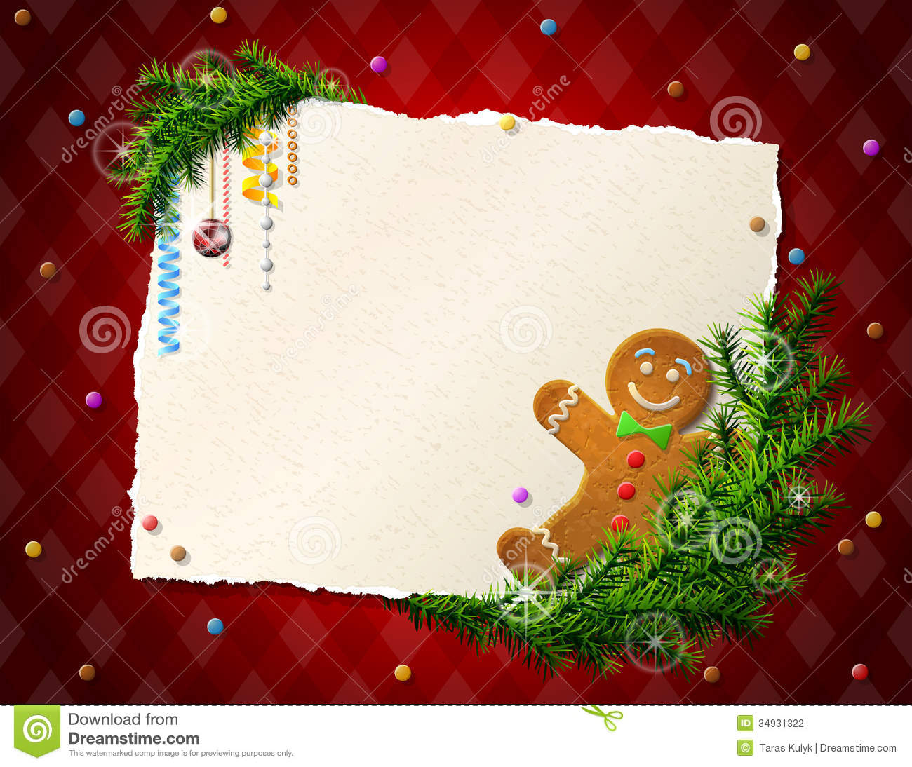Paper For Christmas List With Gingerbread Man Stock Photography Image 34931322