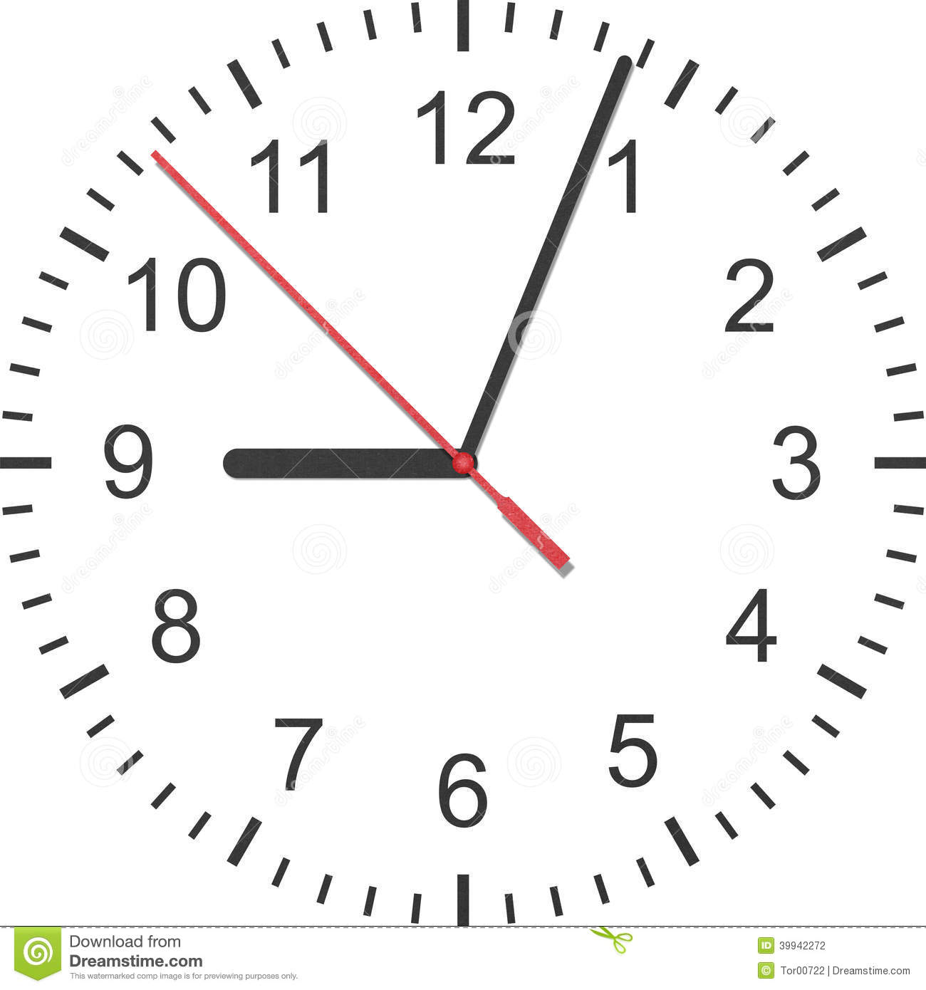 Paper Cut Of Time Clock Watch Is Number With Hour Hand