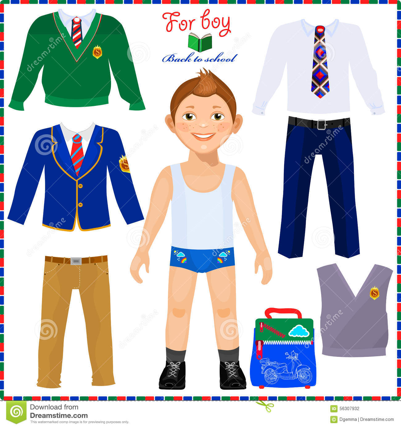 Paper Doll With A Set Of Clothes Cute Boy Student Stock