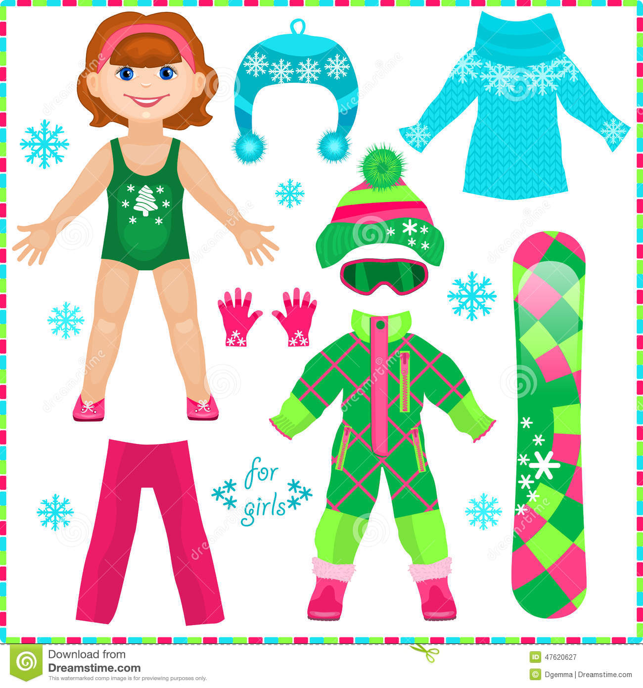Paper Doll With A Set Of Clothes Cute Fashion Girl Stock