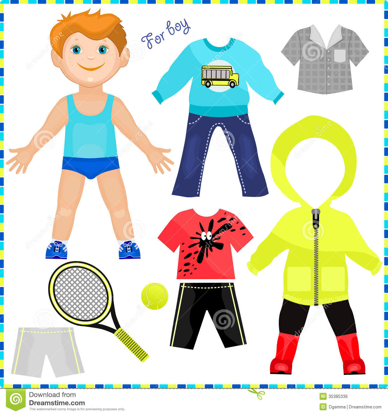 Paper Doll With A Set Of Clothes Stock Vector