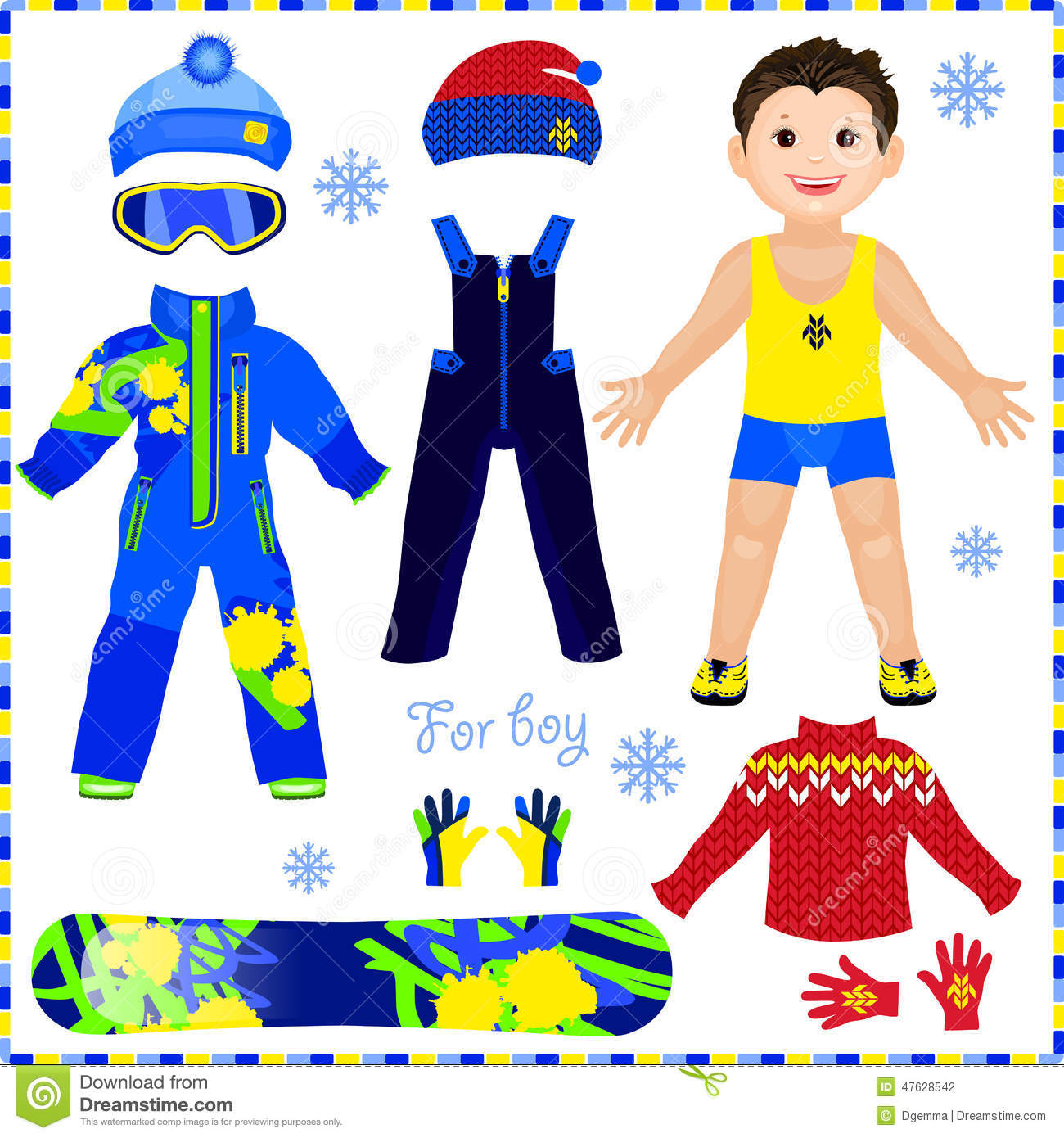 Paper Doll With A Set Of Clothes Winter Sportswear Cute