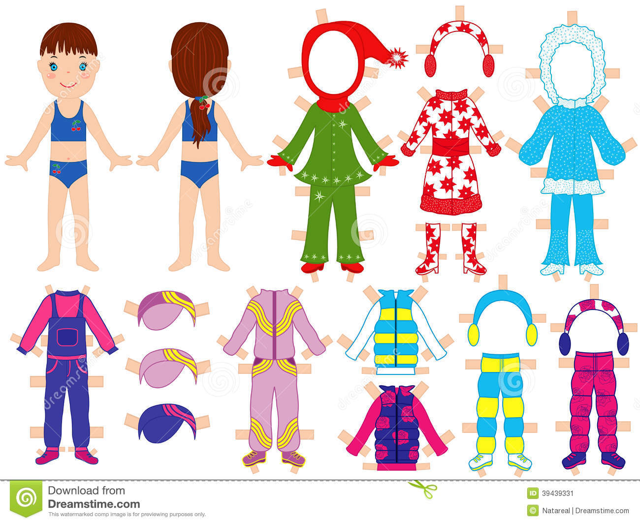 Paper Doll And Warm Clothes Set For Her Stock Vector