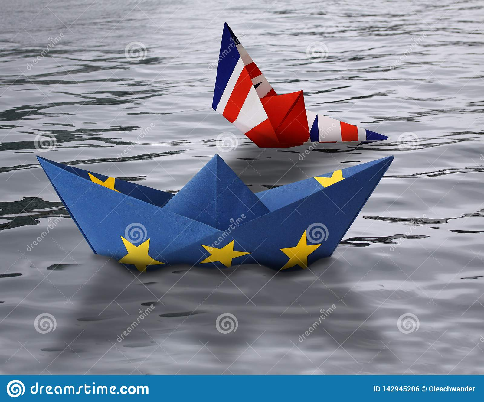 Paper Ships Made As European Union And British Flags