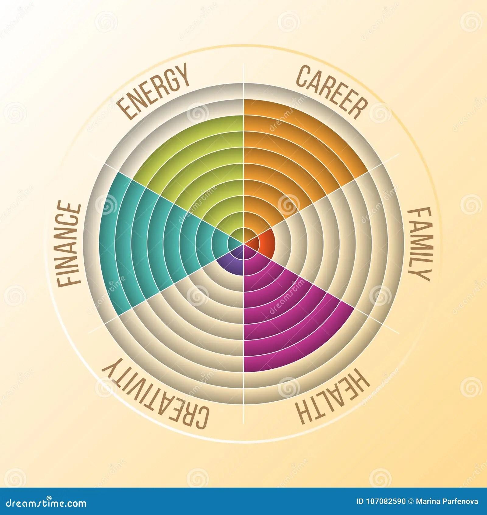 Papercut Wheel Of Life Diagram Coaching Tool In Colors Stock Vector