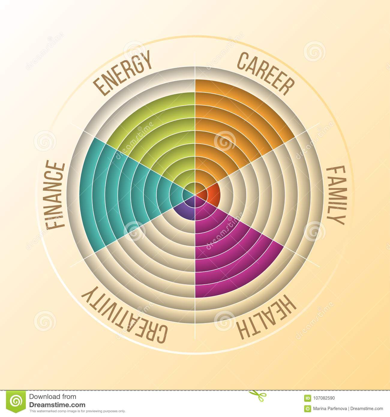 hight resolution of papercut wheel of life diagram coaching tool in colors