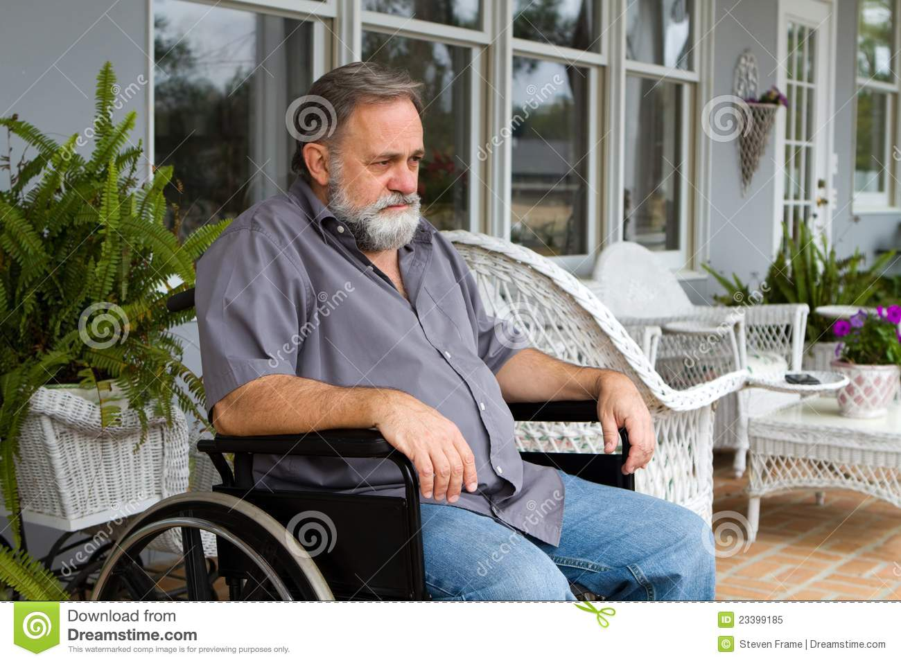 wheelchair man bedroom chair floral paraplegic in royalty free stock photo