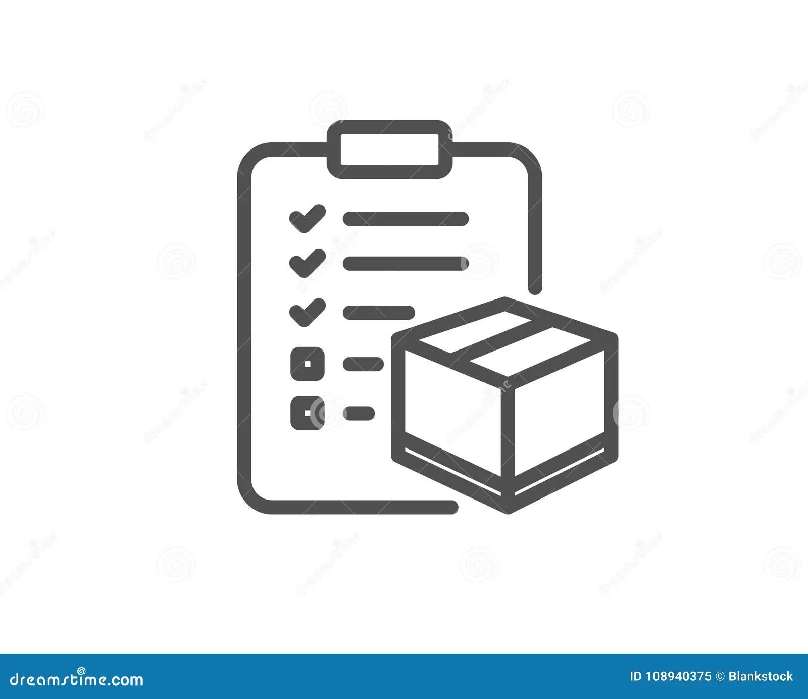 Parcel Checklist Line Icon. Logistics Check. Stock Vector