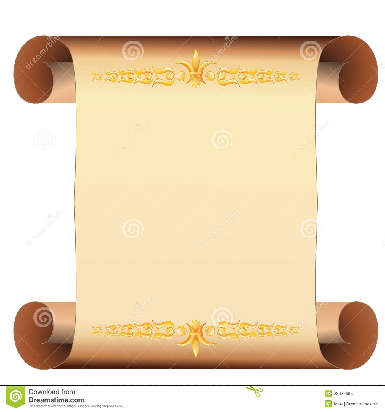 parchment scroll with gold