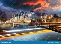 Paris City Hall Night - Hotel De Ville Stock