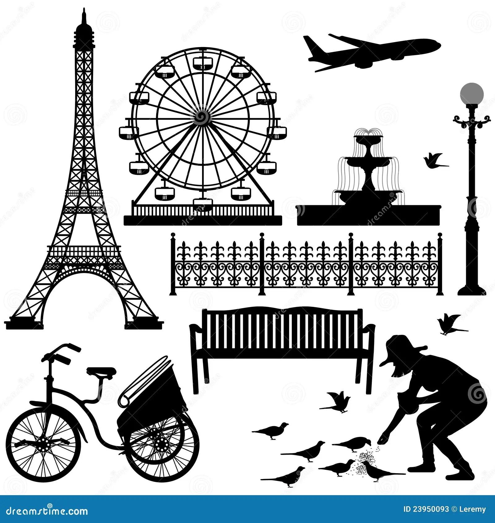 Paris Eiffel Tower Ferris Wheel Stock Vector