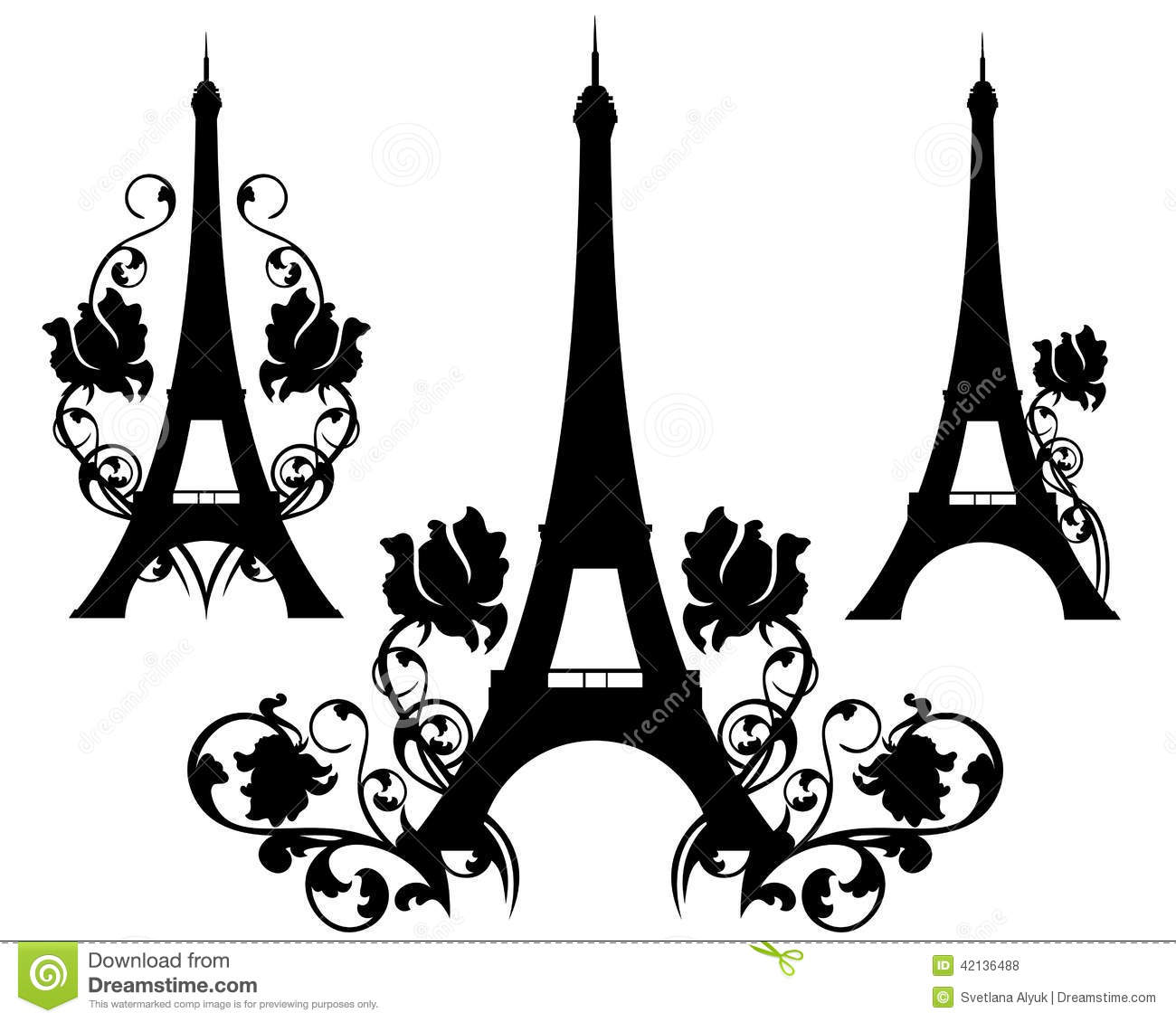 Paris In Flowers Stock Vector Image Of Monument Icon