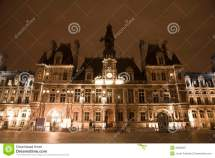 Paris - Hotel De Ville In Night Royalty Free Stock