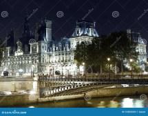Paris Hotel De Ville And Seine River Royalty Free Stock