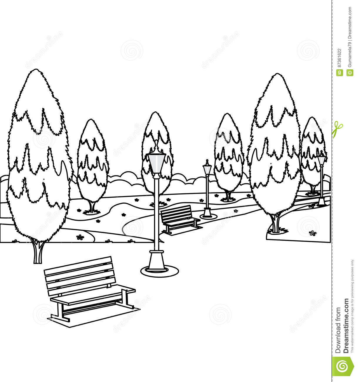Park With Benches And Trees Coloring Page Stock
