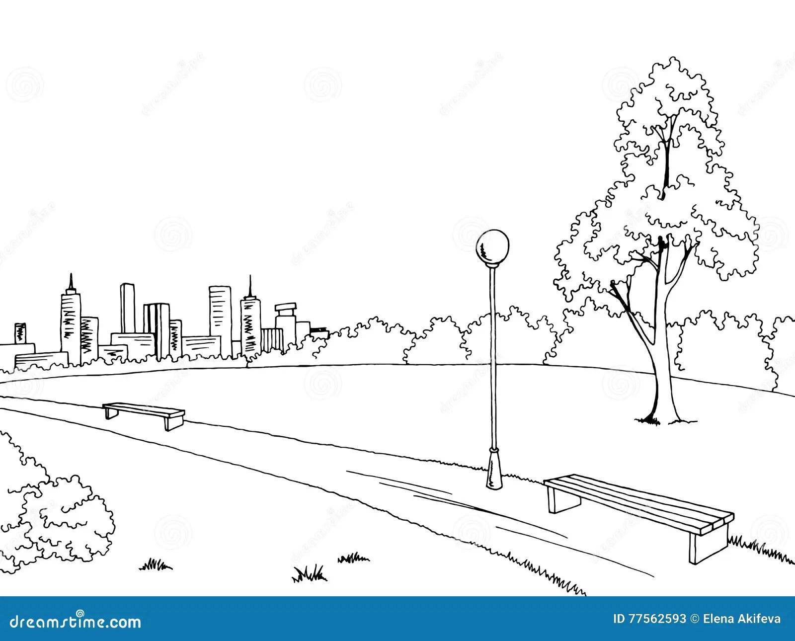 Park Graphic Art Black White Bench Lamp Landscape Sketch