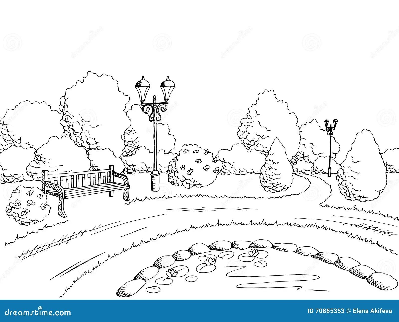 Park Graphic Art Black White Landscape Illustration Stock