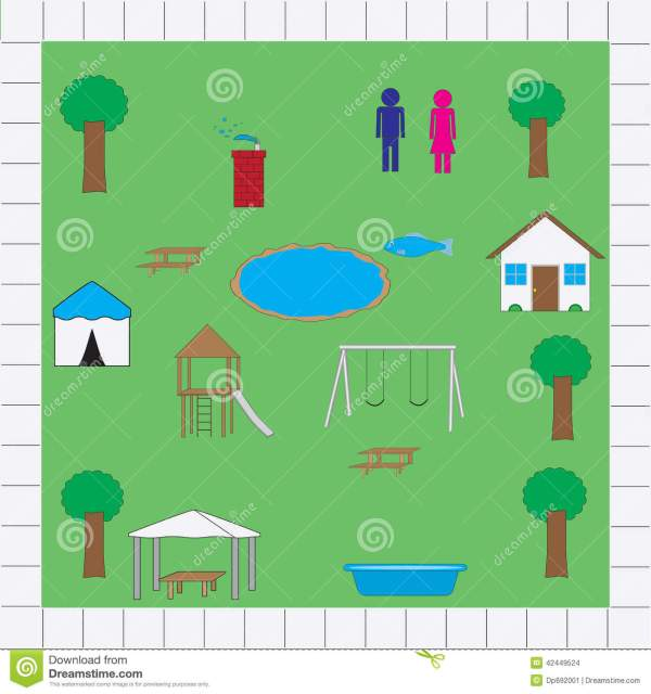 Park map icons vector pack stock vector Image of park