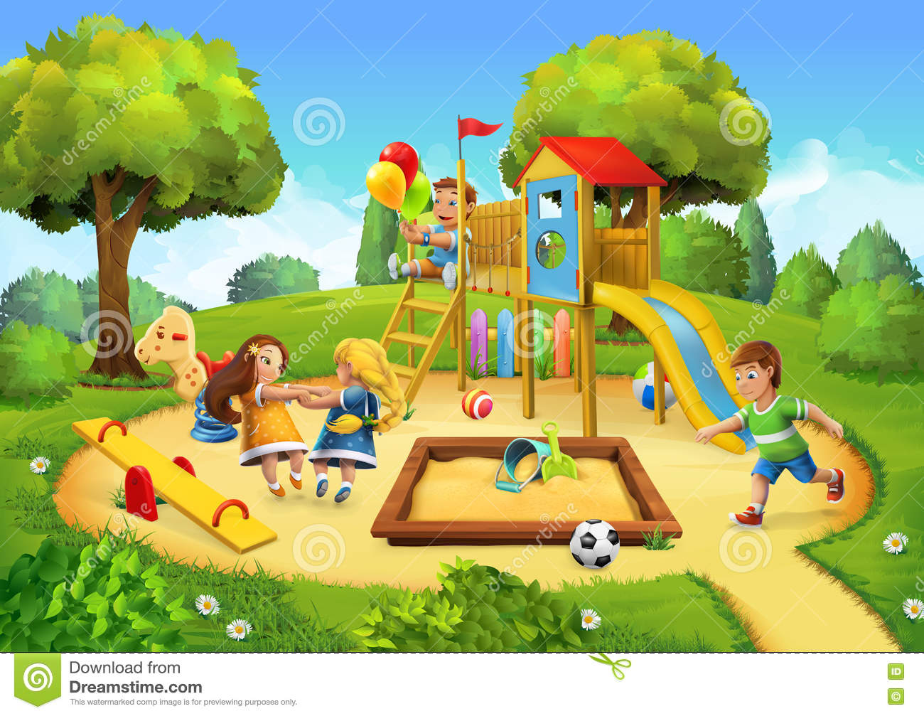 Park Playground Background Stock Vector  Illustration of