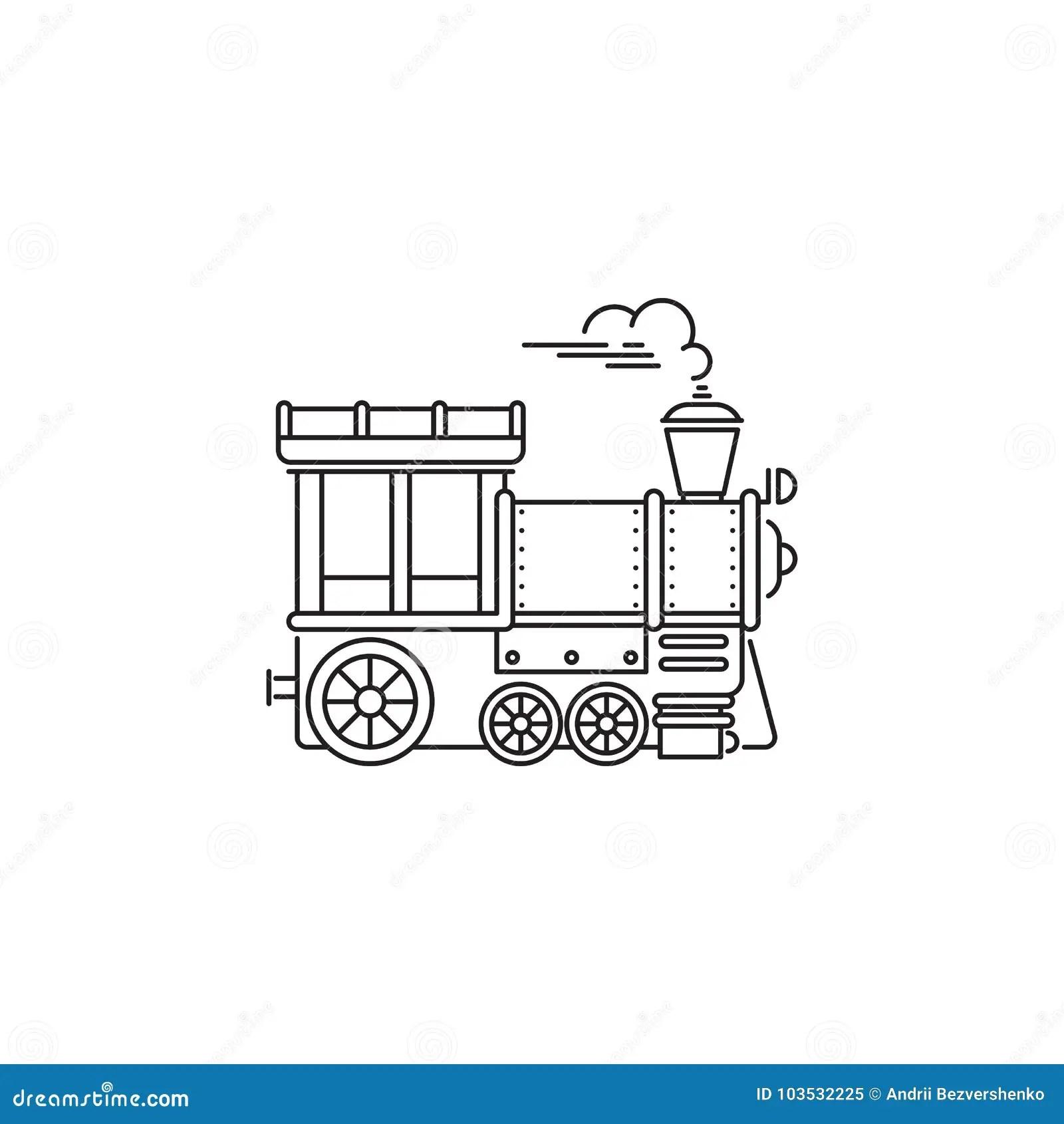 Park Train Locomotive Icon Vector Linear Design Isolated