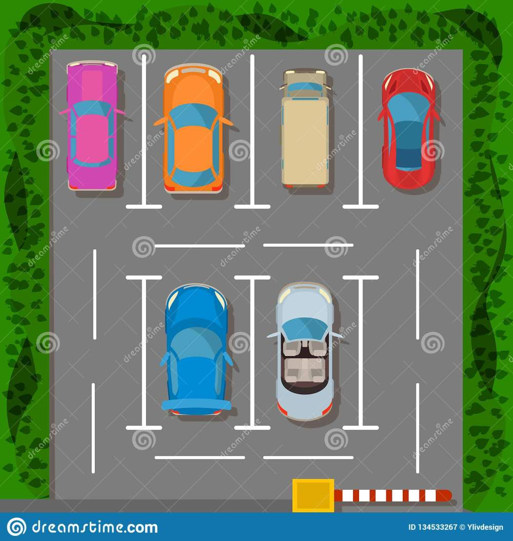 medium resolution of parking lot concept banner cartoon style
