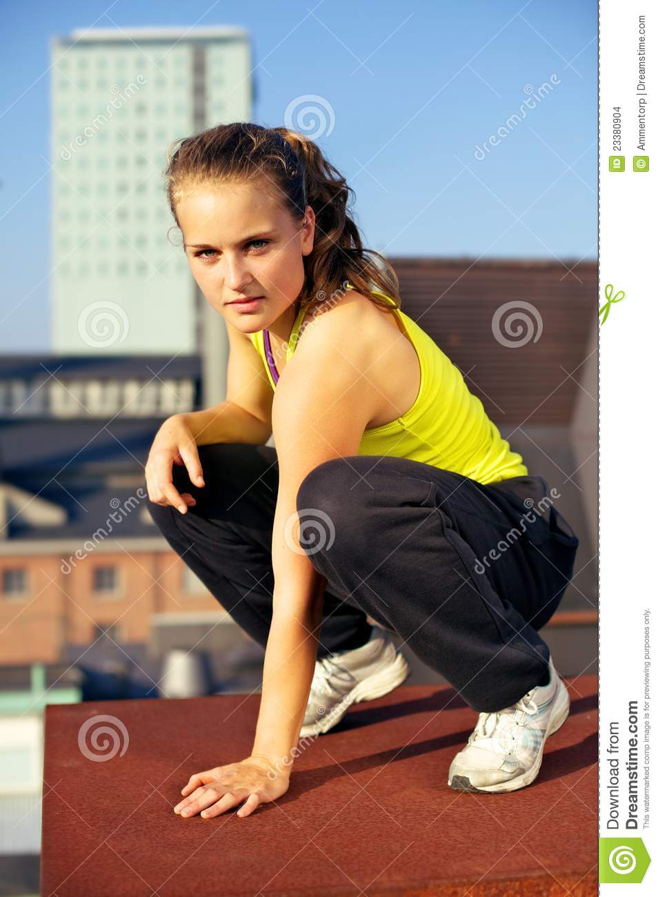 Girls Fitness Wallpaper Parkour On Urban Building Rooftop Stock Images Image