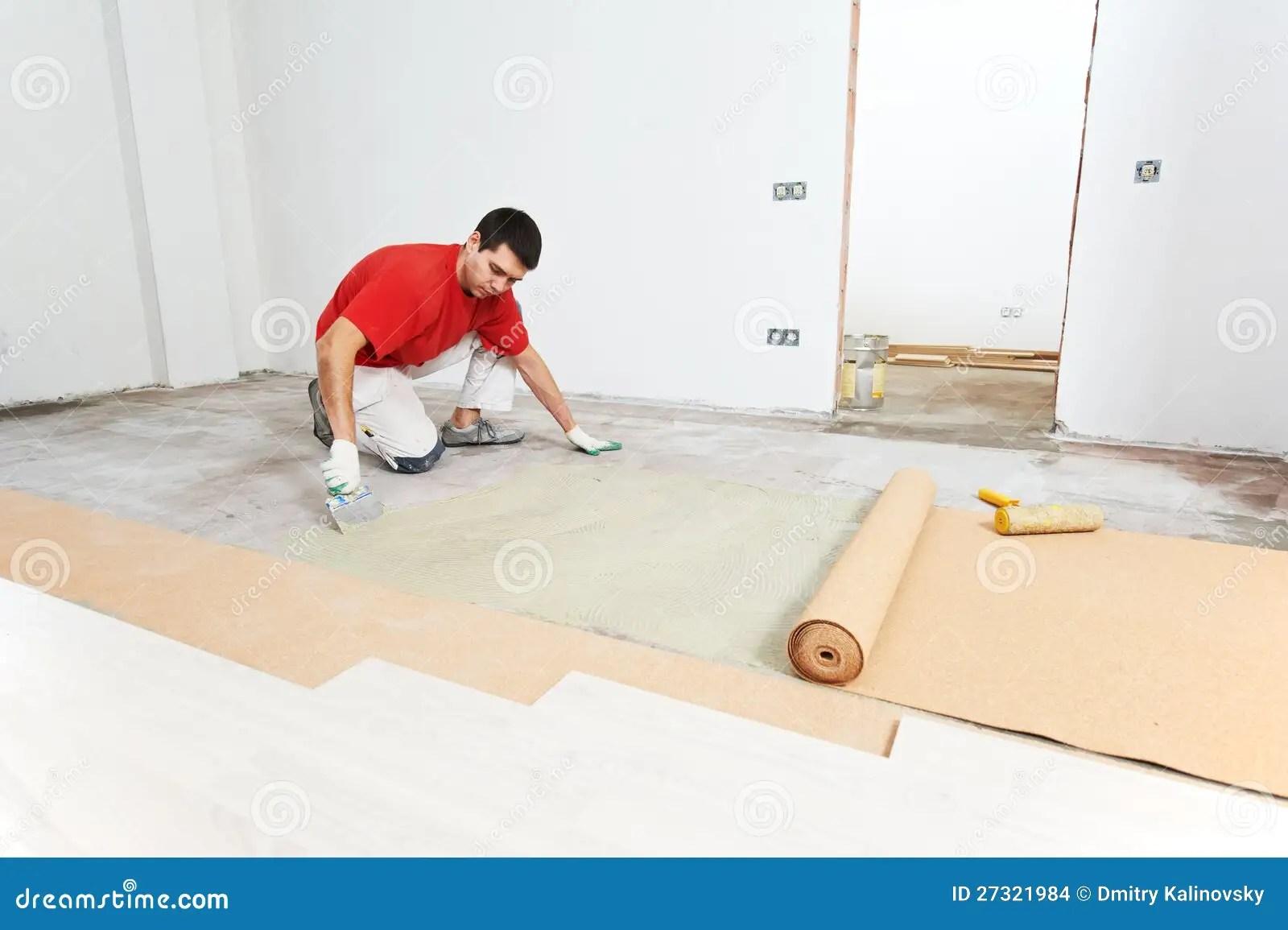 Parquet Floor Work With Cork Layer Stock Images  Image